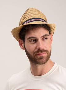 Beige Textured Trilby Hat
