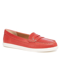 Red Saddle Leather Loafers