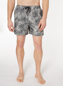 Monochrome Leaf Print Shorts
