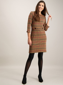 Tan Check Retro Shift Dress