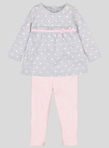 Grey Polka Dot Cloud Top With Leggings (Newborn - 12 months)