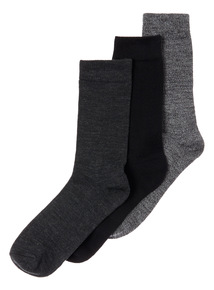 Black Three Pack Thermal Socks