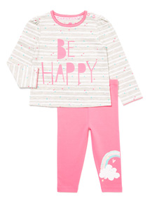 Grey and Pink Slogan Top and Leggings Set (0-24 months)