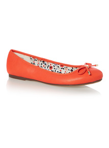 Orange PU Bow Ballerina