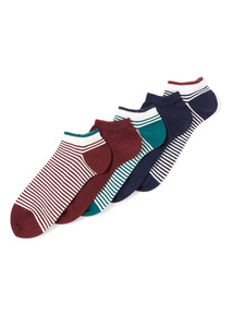 5 Pack Multicoloured Stripe Stay Fresh Trainer Socks