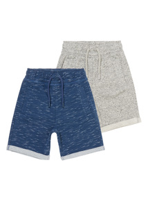 Boys Multicoloured Loopback Shorts 2 Pack (3-12 years)