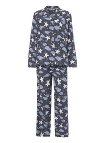 Moons and Stars Brushed Traditional PJ Set