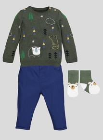 Green Bear Jumper & Trousers Set (0-24 months)