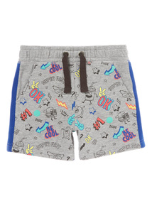 Grey Food Print Jersey Shorts (9 months-6 years)