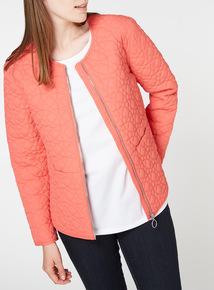 Orange Collarless Quilted Jacket