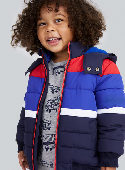 Multicoloured Colour Block Puffa Jacket (9 months-6 years)