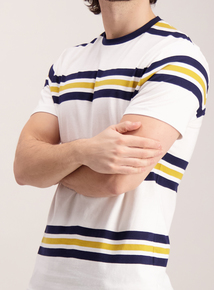 White Stripe Crew Neck T-Shirt