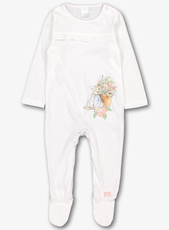 78c45085daf5 Online Exclusive Peter Rabbit White & Pink Sleepsuit (newborn - 12 months)