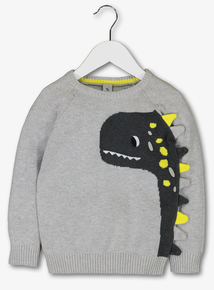 Grey Dinosaur Boucle Knit Jumper (1-6 years)