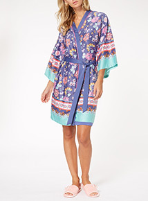 MultiColoured Border Print Hammered Satin Robe