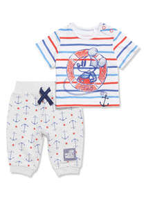 Grey Disney Mickey Mouse T-Shirt and Joggers Set (Newborn - 18 months)