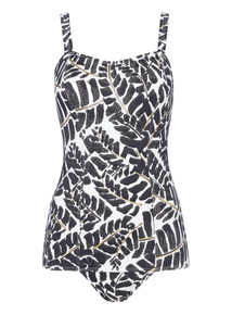 Monochrome Gold Leaf Tummy Control Swimsuit