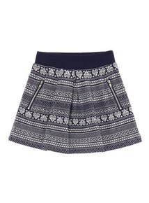 Girls Navy Fairisle Skirt (3-12 years)