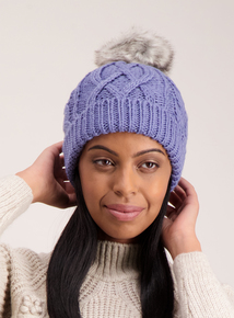 Cornflower Blue Cable Knit Faux Fur Pom-Pom Hat