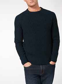 Navy Pineapple Stitch Jumper