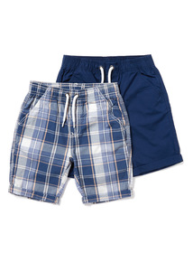 2 Pack Multicoloured Poplin Shorts (3-14 years)