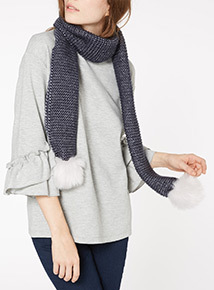 Metallic Faux Fur Pom Scarf