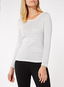 Cream Pointelle Long Sleeve Thermal Top