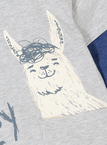 Grey Llama Print Long Sleeve T-Shirt (12 Months - 6 Years)