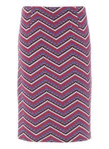 Multicoloured Chevron Pencil Skirt