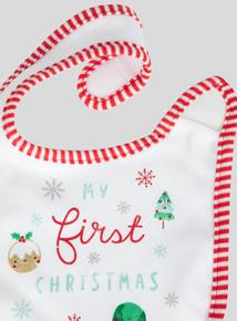 Christmas White Velcro Bib