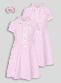 Pink Classic Gingham Dress With Bobble 2 Pack (3 - 12 years)