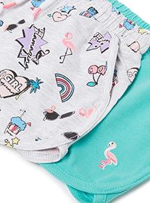 3 Pack Multicoloured Flamingo Shorts (3-14 years)