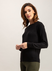 Online Exclusive Black Soft Touch Moss Stitch Jumper