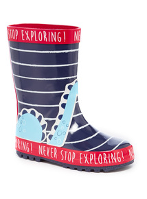 Navy Dino Stripe Welly (3-12 years)
