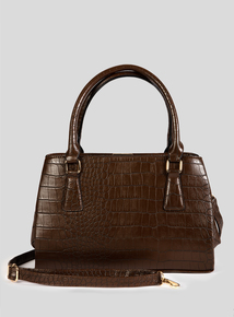 Brown Faux Crocodile Skin Handbag