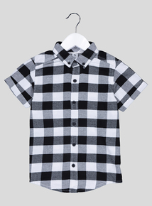 Black Check Short Sleeve Shirt (3-14 years)