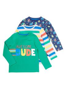 Multicoloured Three Pack Long Sleeve Tees (9 months-6 years)