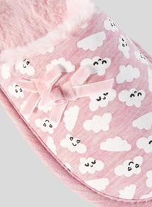 Pink Cloud Print Mule Slipper (10 Infant-4 Child)