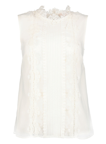 Premium Cream Lace Panel Sleeveless Blouse