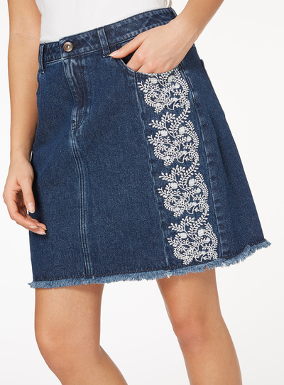 Embellished Panelled Mini Skirt