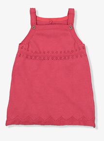 Red Knitted Pinafore Dress