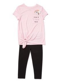 Multicoloured Unicorn T-Shirt and Leggings set