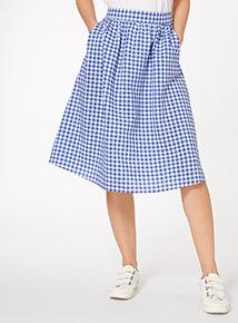 Blue Gingham Skirt