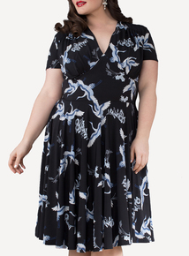 EMILY Black & Blue Dita 1940s Jersey Short Sleeve Dress