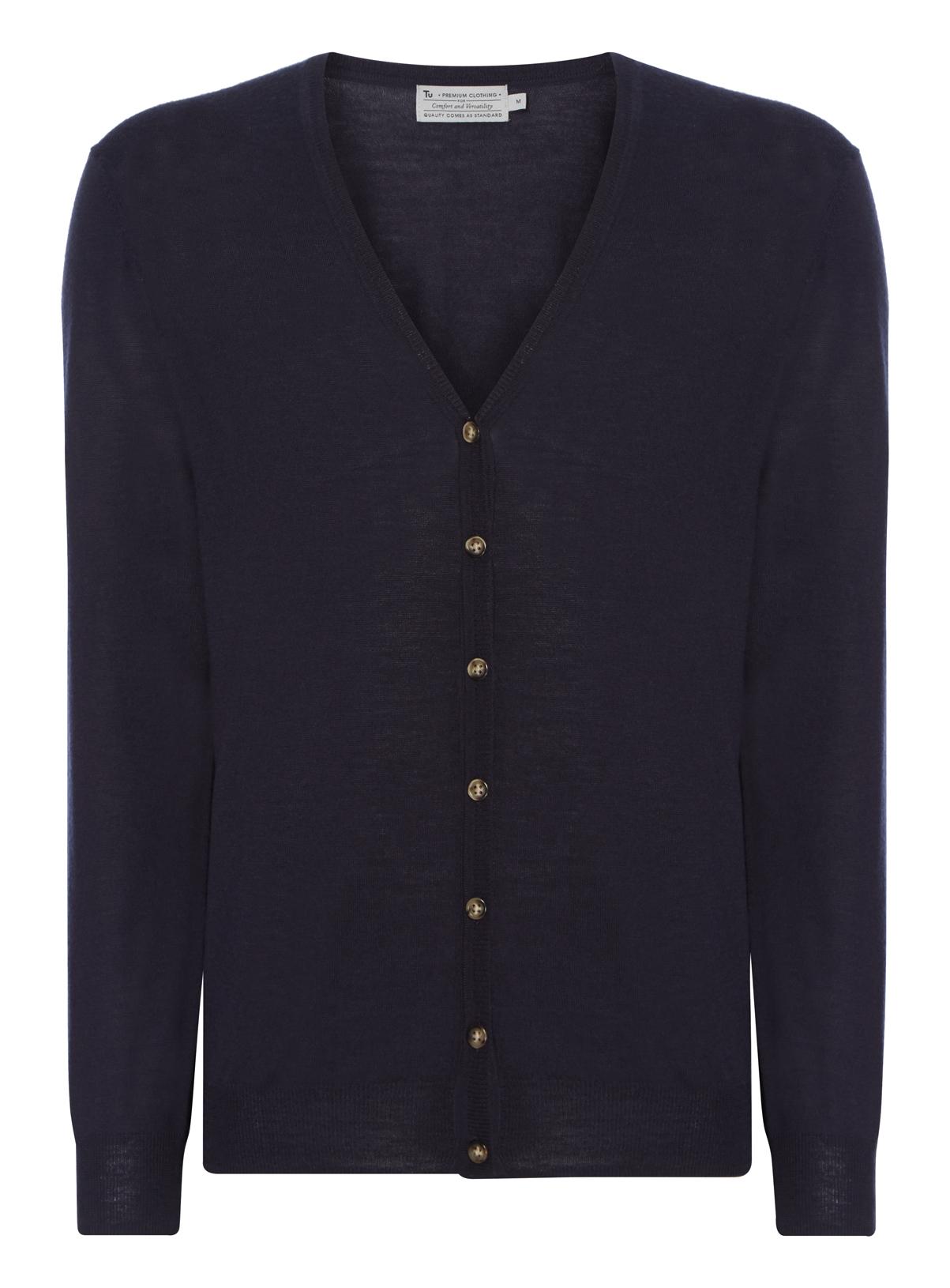 Mens Navy Merino Wool Cardigan | Tu clothing