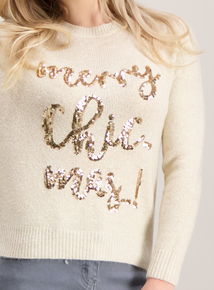 Online Exclusive PETITE Cream 'Merry Chic-mas' Jumper