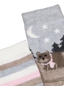 Oatmeal Bear & Stripe Thermal Socks 2 Pack