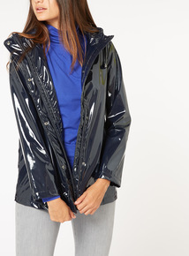 Navy Wetlook Rain Coat