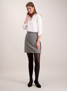 Monochrome Dogtooth Print A-Line Skirt
