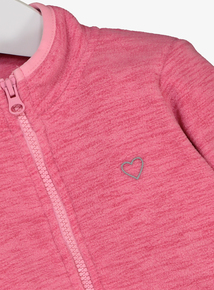 Pink Marl Heart Motif Fleece (3-14 years)